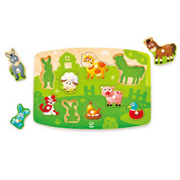 Hape - Farmyard Peg Puzzle 9pc