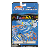 Melissa & Doug - On The Go - Scratch Art Color-Reveal Pad - Vehicles